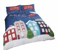 CHRISTMAS SANTA SLEIGH BUILDINGS NAVY BLUE COTTON SINGLE DUVET COVER