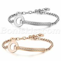 """Women's Charm Stainless Steel CZ Inlay """"forever love"""" Bracelet Chain Unique Gift"""