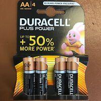 AA Duracell PLUS POWER Alkaline Battery MN1500 LR6 - Pack of 4 Batteries