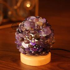 Mineral Gemstone Amethyst Table Lamp Bedside Bed Light Wooden Base Decor Gift
