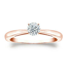 Certified 14k Rose Gold 4-Prong Round Diamond Solitaire Ring 0.40ctw  G-H, I2-I3