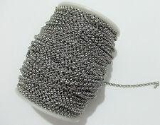 1mt di catena rolò in acciaio inox 3,2x1,2mm colore argento scuro bijoux