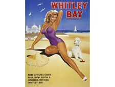 Whitley Bay, Beach Pin-up Girl Classic Advert, sea Holiday, Large Metal/Tin Sign
