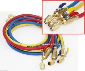 """R134a R410A R22 3 color 5ft HVAC AC Charging Hoses 1/4"""" Fitting w/ Ball Valves"""