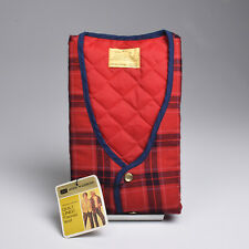 Small 1970s Deadstock Red Plaid Flannel Vest VTG Patch Pockets Lightweight Fall