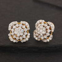 14k Yellow Solid Gold Pave 1.35ct Natural Diamond Stud Earrings Fine Jewelry NEW