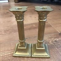 Vintage Pair of Brass Corinthian Column Candlesticks / Candle Holders