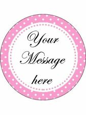 Pink Polka Dot Border Personalised Stickers 35 x 37mm Birthday Party Gift  63