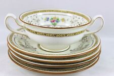 3 SETS MINTON CHINA CAMBRIDGE BROWN B1323 FOOTED CREAM SOUP BOWL SAUCER FLORAL