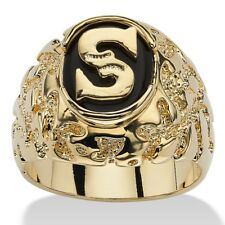 14K GOLD ONYX LETTER S  INITIAL NUGGET RING SIZE GP 8 9 10 11 12 13
