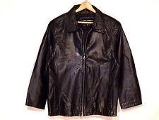 Wilsons full zip lined rugged black leather jacket / women's XL / nice / b63