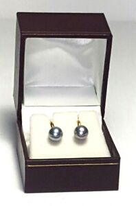 14K Yellow Gold Classic Round 6MM Gray Tahitian Saltwater Pearl Stud Earrings