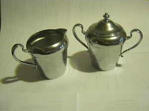 Vintage Cromwell Silver MFG Chromium Cream And Sugar Bowl (005-1)