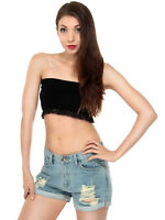 Women Summer Strapless Lace Stretch Tube Top Bandeau Elastic Bra Crop Top Shirt