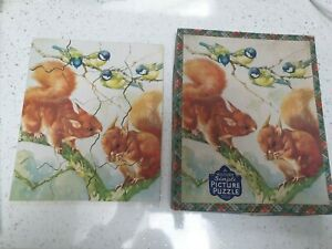 VINTAGE VICTORY WOOD SIMPLE PICTURE JIGSAW PUZZLE - SQUIRRELS AND BIRDS COMPLETE