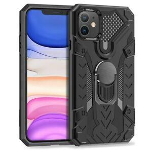 iPhone 12 Hülle Schutz Handy Militärstandard mit 360 Grad Ständer Schwarz