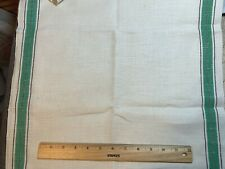Vintage Linen Kitchen Toweling Towel Fabric Green & Black Stripes Exc