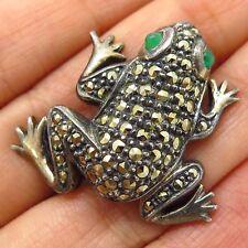 Vtg Judith Jack 925 Silver Marcasite Chalcedony Gem Frog Good Luck Pin Brooch