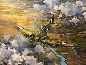Original Acrylic Painting by P.Hill. CAC Boomerang fighter. RAAF 1942. WW2.