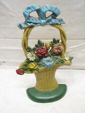 Early Cast Iron Door Stop Basket of Flowers Floral Cottage Painted Doorstop