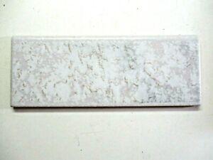 "Italy CLP Ceramic 7-7/8"" X 3"" Marbled Satin Gray Beige 1 Bullnose Wall Tile Vtg"