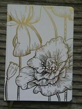 Hardcover Lined Ruled Journal Notebook Diary - gold flowers with dividing strip