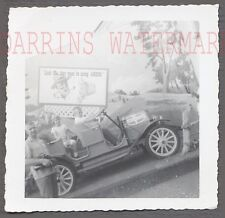 Vintage Car Photo Cute Boy & Girl in Automobile w/ Amoco Gas Sign 717409