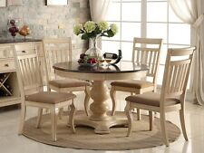 ROWAN 5PC ANTIQUE WHITE WASH CHERRY FINISH WOOD ROUND PEDESTAL DINING TABLE SET