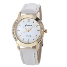 Vintage Watches Women Geneva Rhinestone Watch Analog Leather Quartz Wristwatches