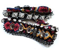 ZARA Womens Bracelet Set Woven Friendship Skull Crystal Stud Chain Red Party
