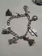 Vintage Sterling Silver Charm Bracelet Oyster W Pearl Elephant Artist Palette