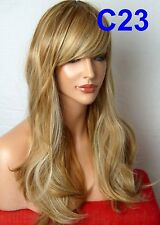 Wavy Curly Long Full Women Natural Brown Blonde Highlight Ladies Lady Wig C23