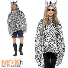 Zebra Poncho Waterproof Festival Fancy Dress Adults Mens Ladies Animal Costume