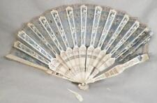 Vintage Hand Fan Lace Silk Satin Tatted Lace Sequins Folding As Is #6 To Restore