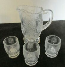 4 PCS EAPG US GLASS CO NURSERY RHYME CHILDS PITCHER W/ 3 CUPS WATER SET
