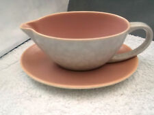 POOLE POTTERY PINK AND MOTTLED GREY SAUCE / GRAVY BOAT AND PINK SAUCER