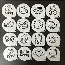 Hello Kitty Coffee Stencils Template Cake Mold Fondant Cookies Baking 16 Pcs Set