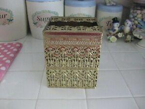 Vintage Hollywood Regency Filigree Gold Metal Tissue Kleenex Box Holder Cover