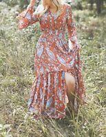 Boho Peasant Camel Paisley Maxi Dress S Long Sleeve Flowing Autumn Photography