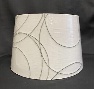 """IKEA Adjustable Harp Lampshade UMFORS White Linen w Gray Swirls 13"""" NEW"""