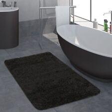 Moderner Badezimmer Teppich Einfarbig Hochflor Badteppich Rutschfest In Schwarz