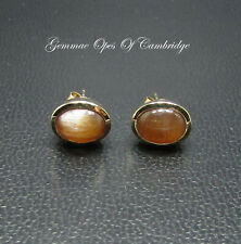 9K gold 9ct Gold Oval Sunstone Stud Earrings 2.43g