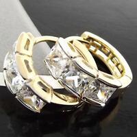 Earrings Huggie Hoop Real 18ct Yellow G/F Gold Solid Ladies Diamond Simulated