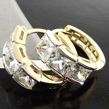 FS927 GENUINE 18K YELLOW G/F GOLD SOLID DIAMOND SIMULATED HUGGIE HOOP EARRINGS