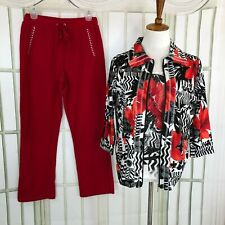Sport Couture Casual Pant Suit 3 PC Size Small Full Zip Jacket Womens Red
