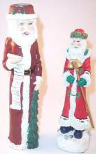 Lot of 2 Santa Claus Christmas Figurines Collectibles, 1 Candle Holder 1 Musical