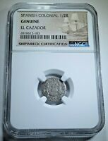 1760 El Cazador Shipwreck 1/2 Reales Piece of 8 Real Sunken Pirate Treasure Coin