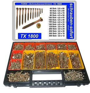 1800 Stck Torx Spanplatten Schrauben im Koffer, 3x12 - 5x80, herausnehmb. Boxen