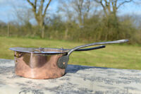 French Antique Copper 16cm Saucepan Pan Cast Iron Handle Lid Museum Piece