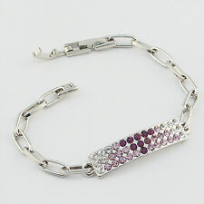 14k white Gold plated purple crystals bangle bracelet with Swarovski elements